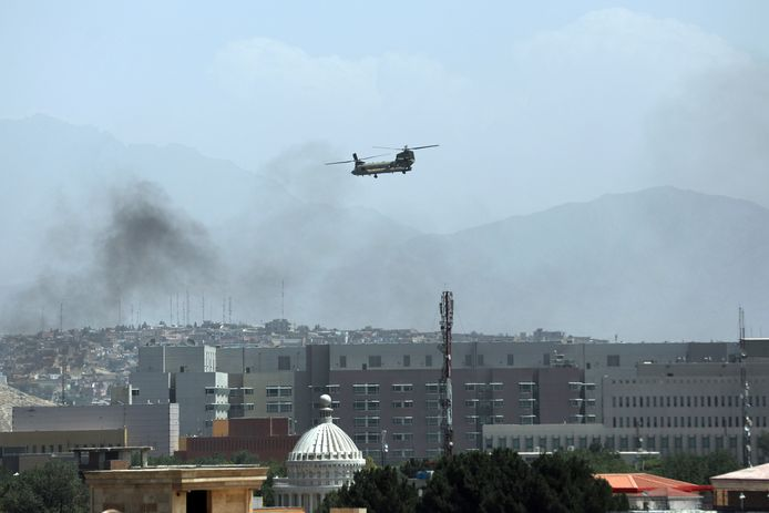 A US military helicopter flies over the US Embassy in Kabul to evacuate personnel.  picture from yesterday.