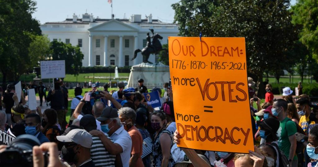 """Americans take to the streets in droves against voting discrimination on the anniversary of """"I Have a Dream"""" speech 