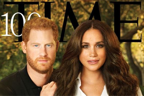 """Hilariteit over magazinecover met prins Harry en Meghan: """"Hij lijkt haar kapper"""""""