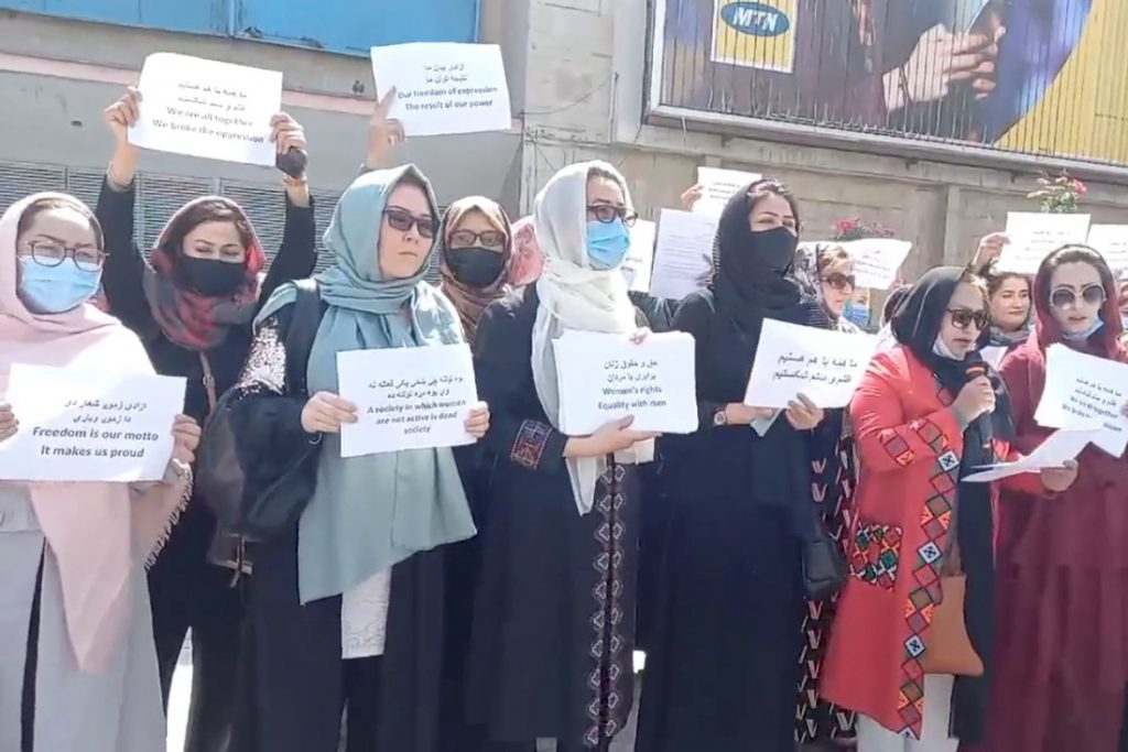 Women's protest in Kabul broken up by the Taliban