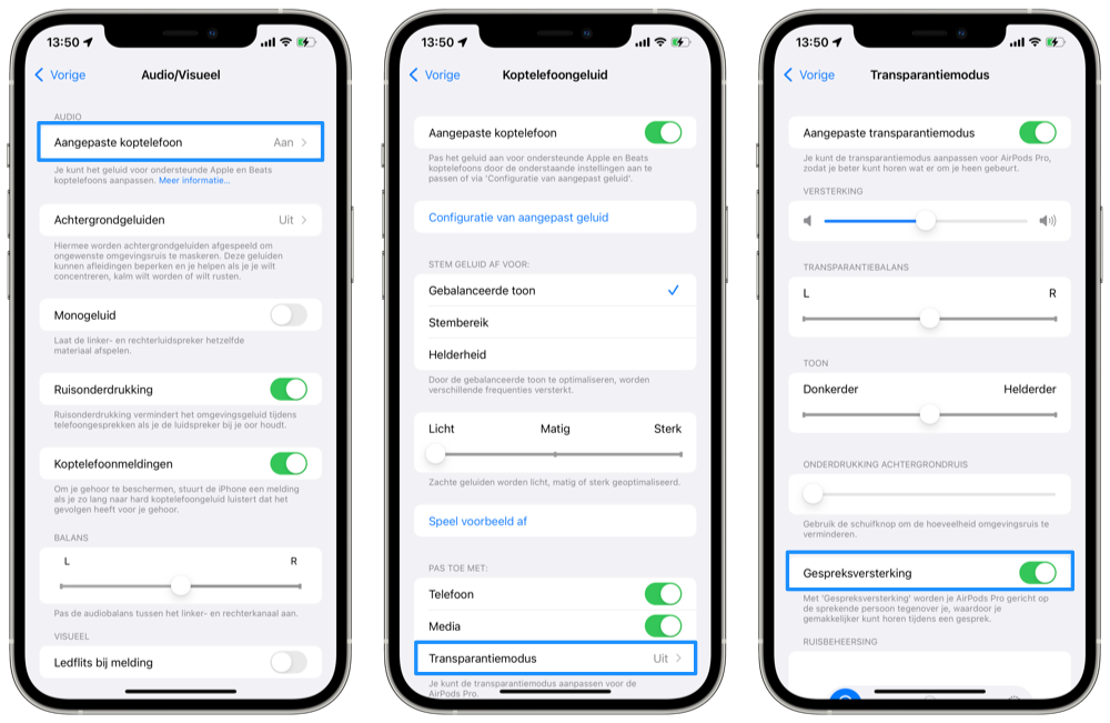 Set up call amplification for AirPods Pro